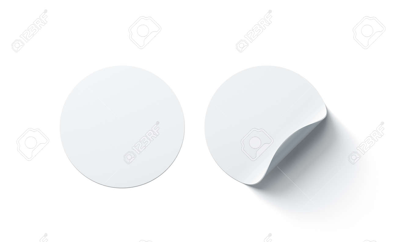 Blank White Round Adhesive Stickers Mock Up With Curved Corner 3d Rendering Empty Circle