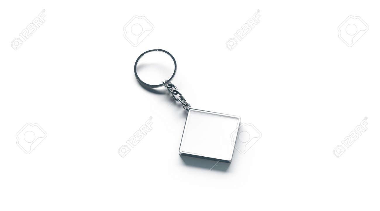 Blank metal rhombus white key chain mock up side view, 3d rendering