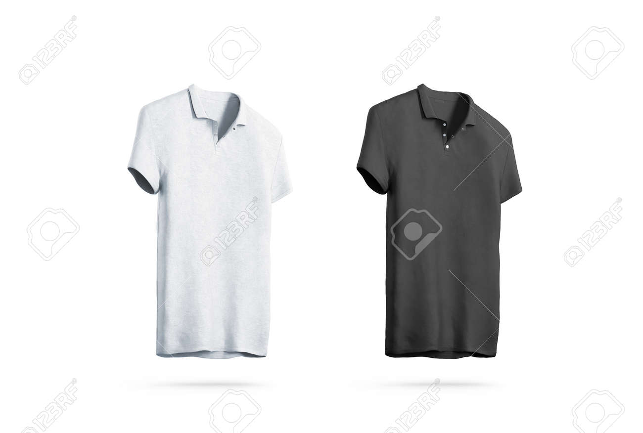 Blank Black And White Polo Shirt Mockup Isolated, Front Side.. Stock ...