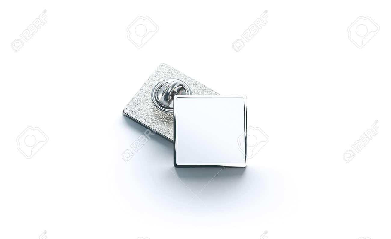Blank white silver lapel badge mock ups stack, 3d rendering
