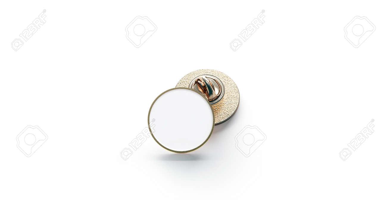 Blank White Round Gold Lapel Badge Mockup Stack 3d Rendering Empty Luxury Hard Enamel