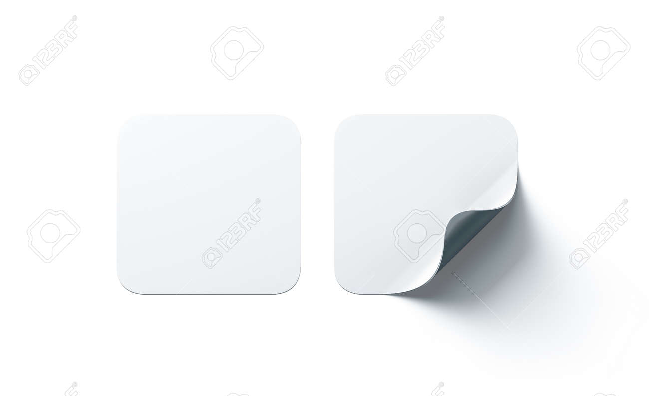 Blank white square adhesive stickers mock up with curved corner