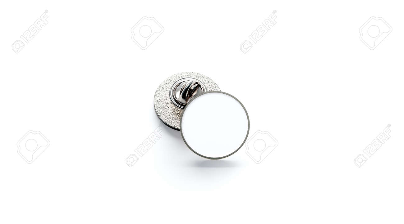 Blank white round silver lapel badge mockup stack, 3d rendering
