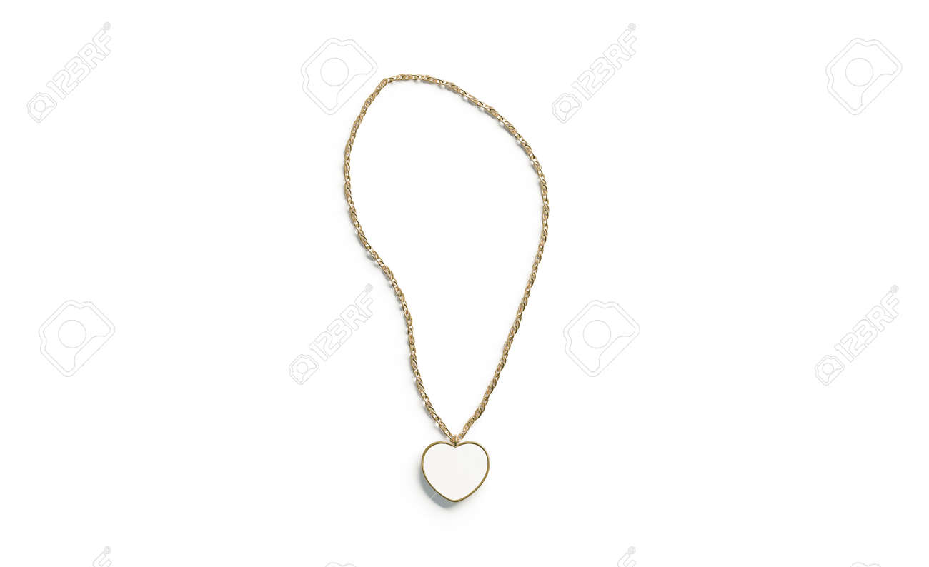 Blank white golden pendant heart mockup top view isolated, 3d