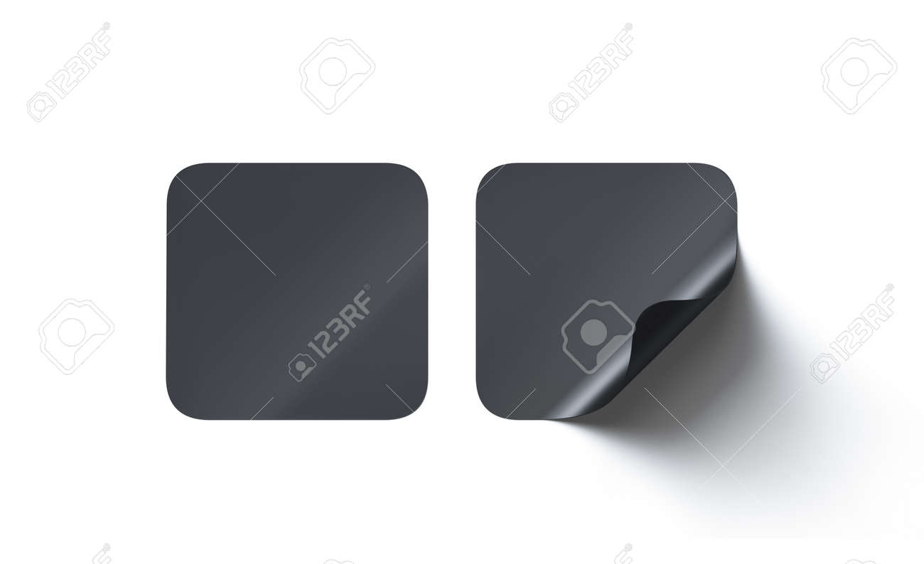 Blank black square adhesive stickers mock up with curved corner,
