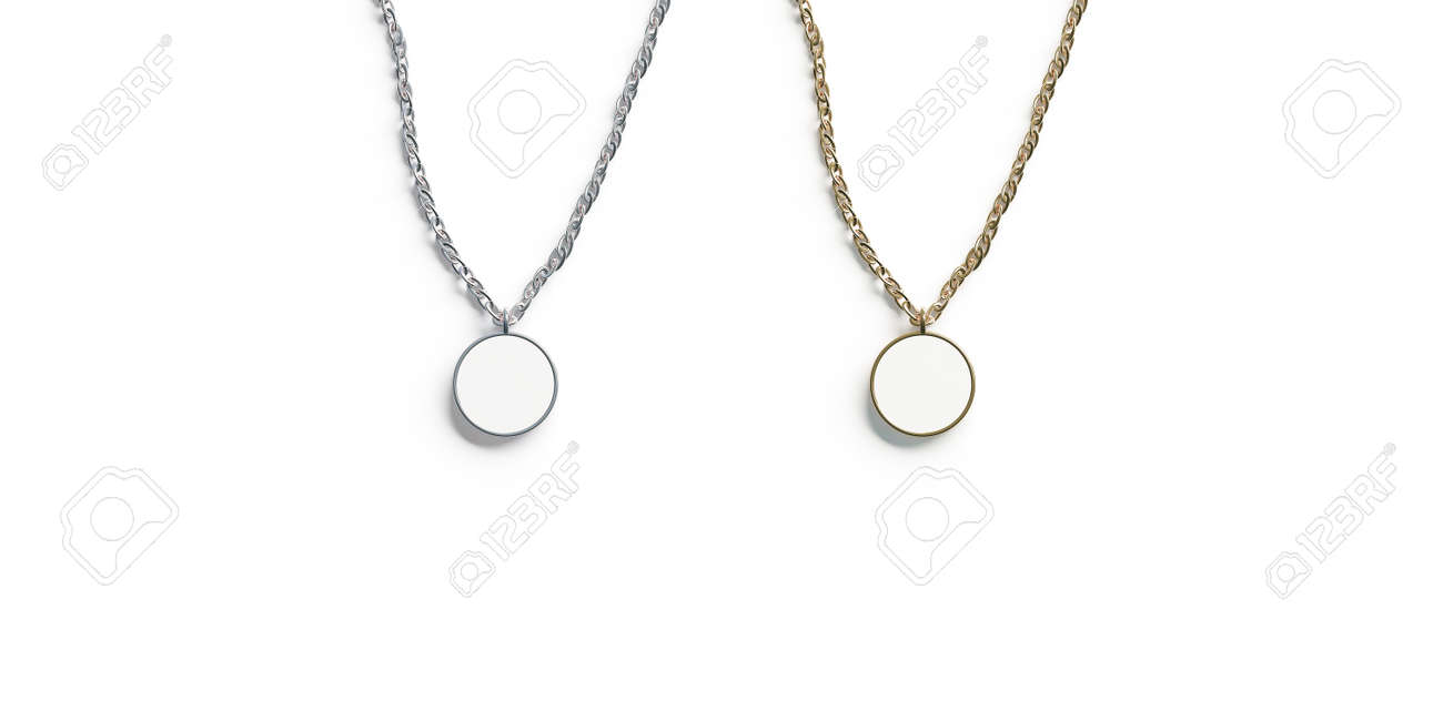 Blank white golden and silver pendant round mockup top view isolated,