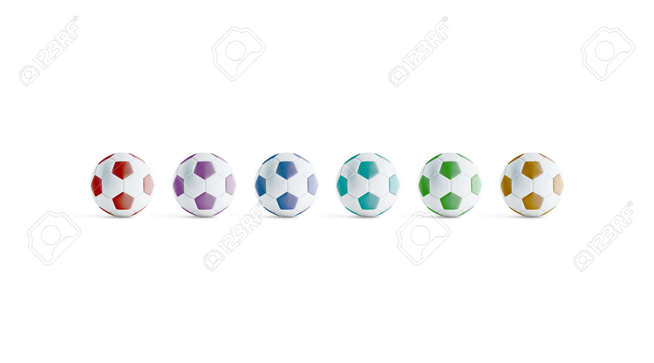 - Blank Colored Soccer Ball Mock Ups, Front View, 3d Rendering