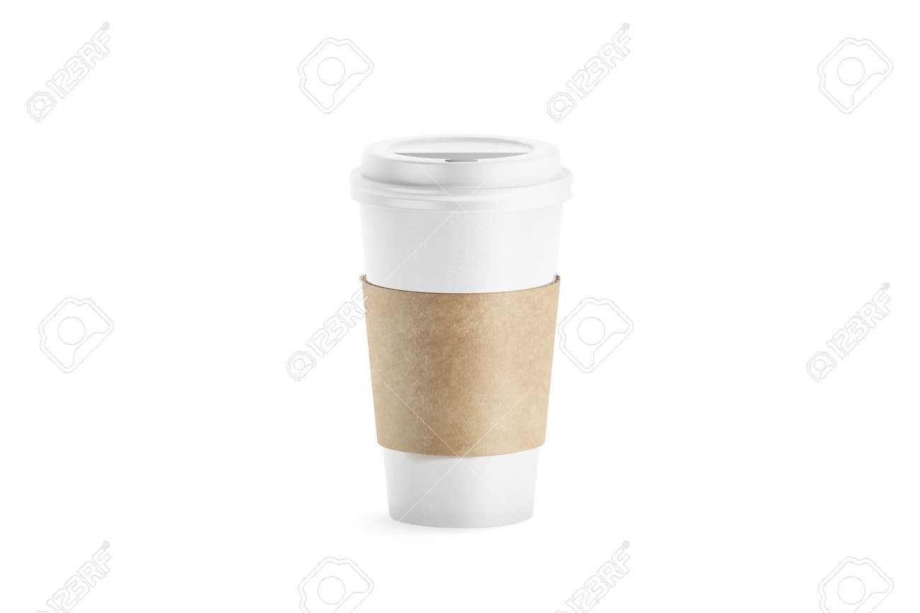 9311bd45317 Blank white paper cup with sleeve holder mockup, 3d rendering. Empty  disposable coffee mug