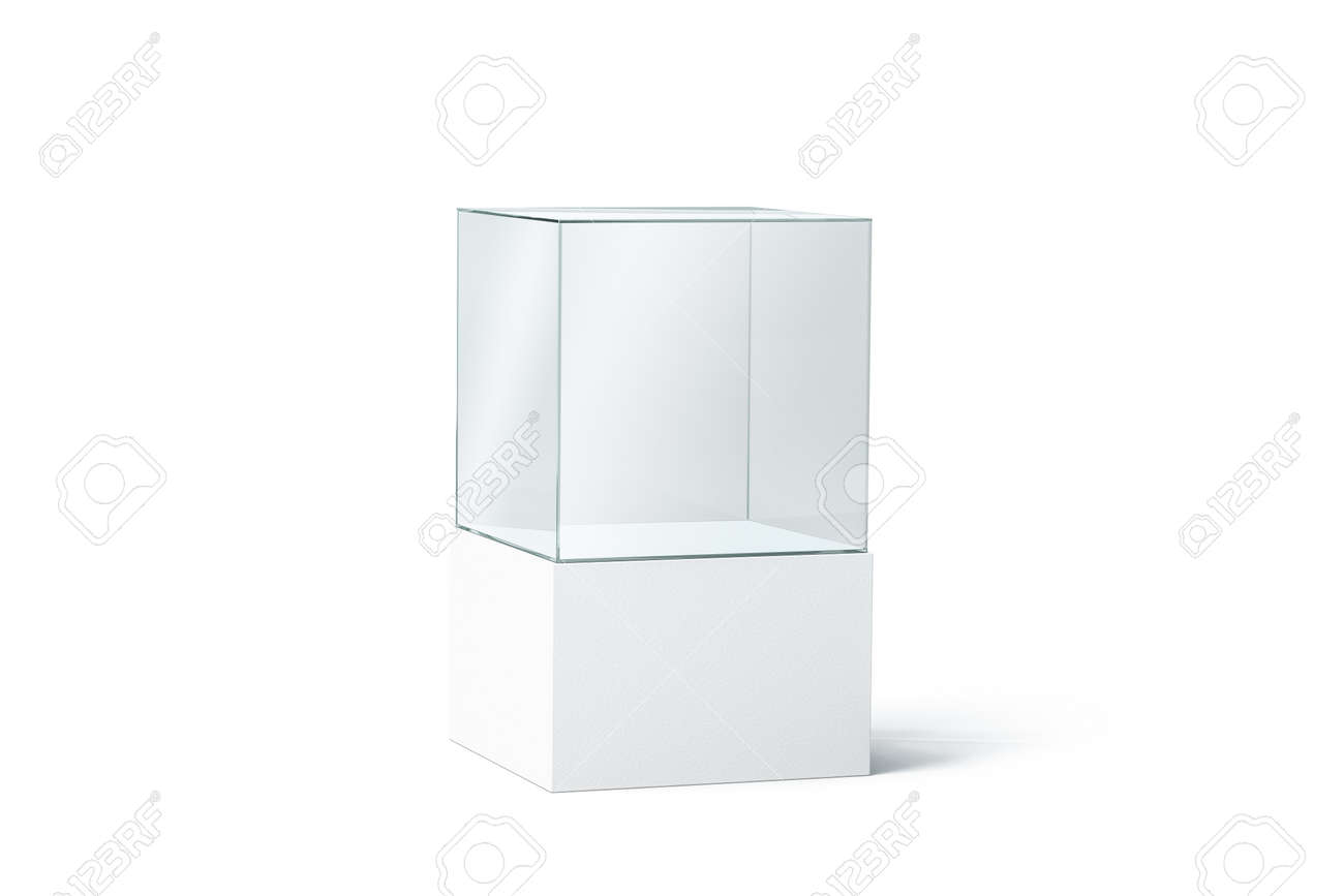Blank white glass box podium mockup, isolated, 3d rendering. Empty transparent showcase mock up, side view. Clear exhibition cube for museum or store. Cube acrylic template. Display cabinet for expo. - 110560153