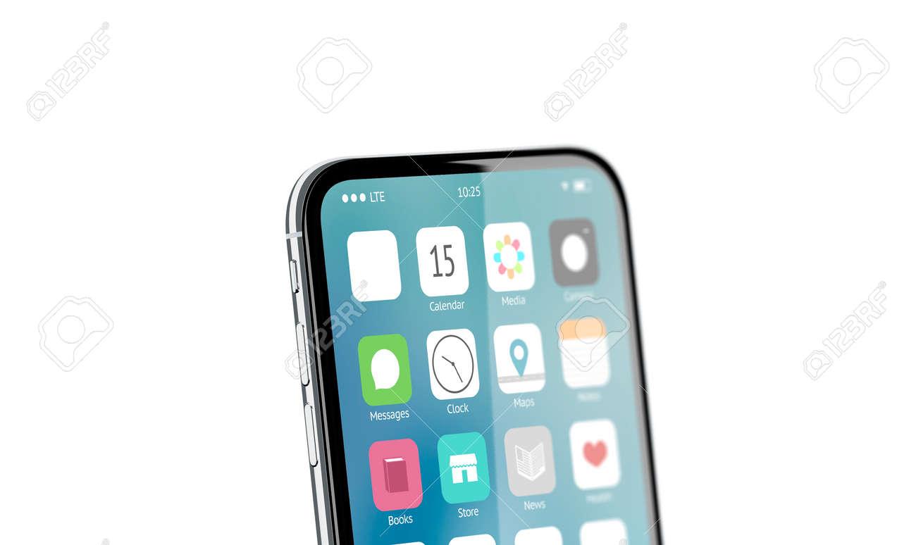 Blank white app icon on phone screen mockup, 3d rendering  Empty