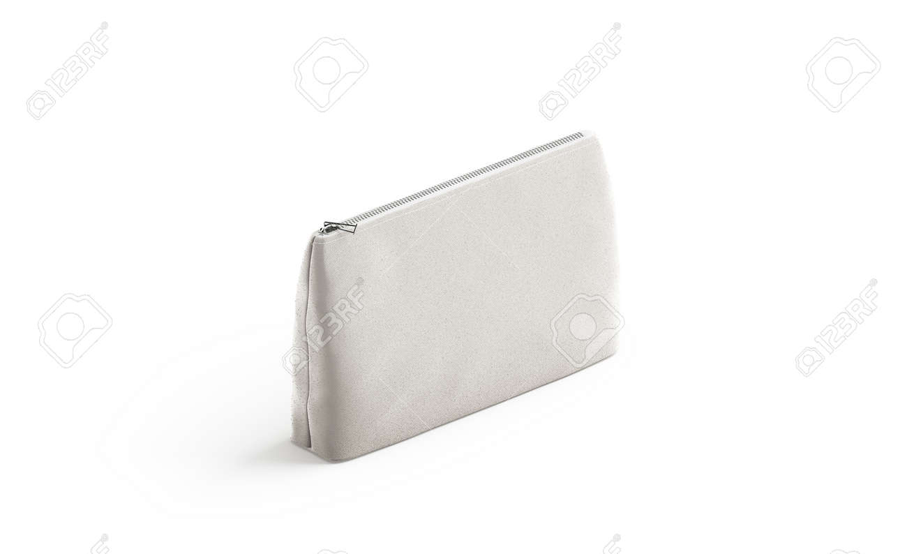 0179abb5 Blank canvas pouch for cosmetics mock up, isolated, 3d rendering. Empty  linen beautician