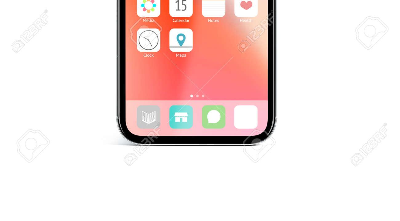 Blank White App Icon On Infiniboard Interface Screen Mockup