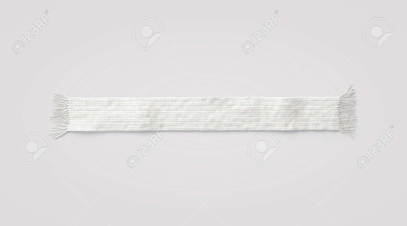 Blank white knitted scarf mock up, isolated, 3d rendering  Empty