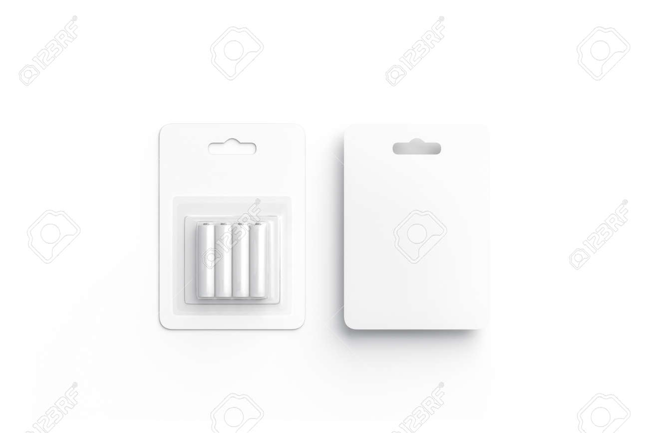 Blank white battery in cardboard pack mockup, front and back, isolated, 3d rendering. Empty batteries in plastic box mock up, top view. Clear disposable accumulator with wrapping template. - 117955484