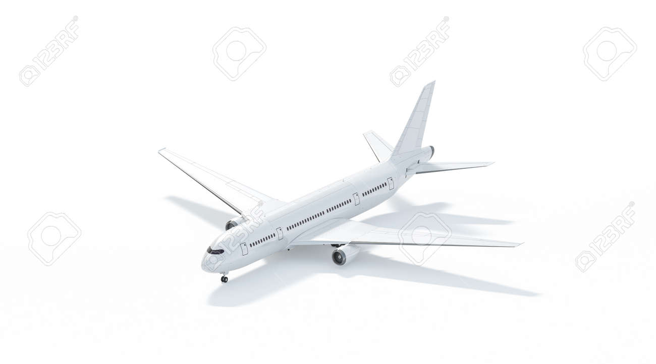 Blank white airplane mockup stand, side view isolated, 3d rendering