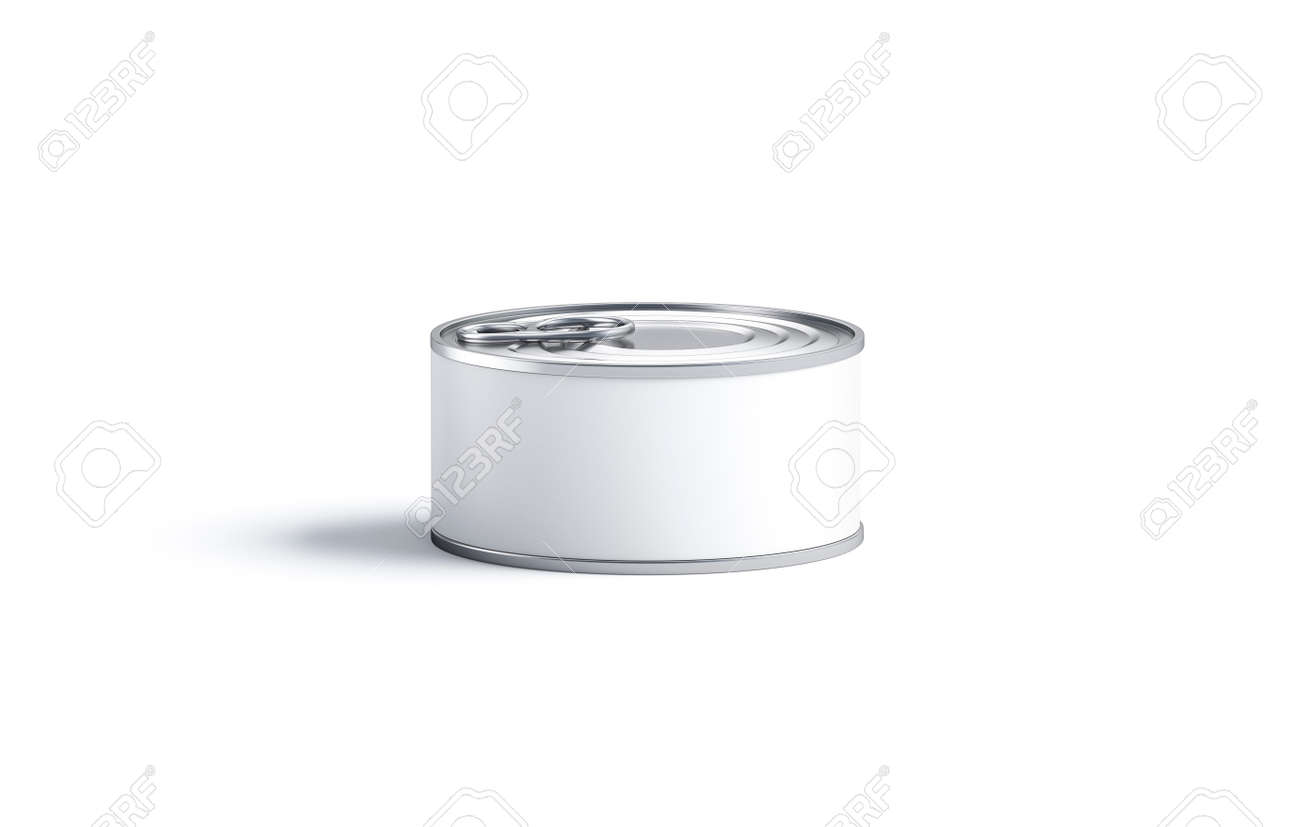 Blank white conserve can with lid mock up, front view - 130220712