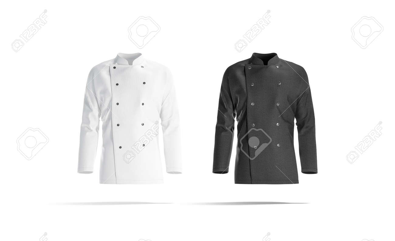 Blank black and white chef jacket mockup set, front view - 146205754