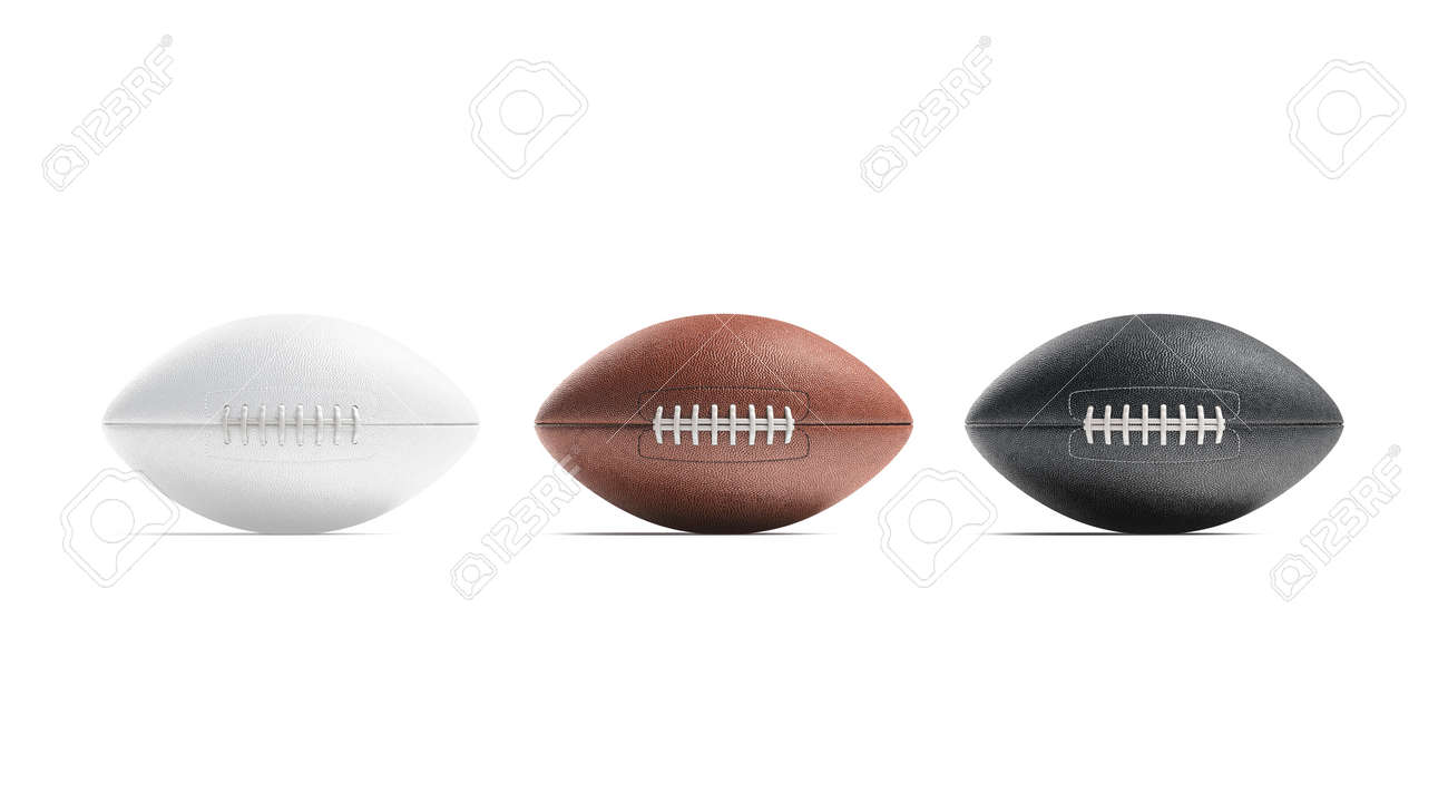 Blank black, white and brown american soccer ball mockup, isolated - 147949035