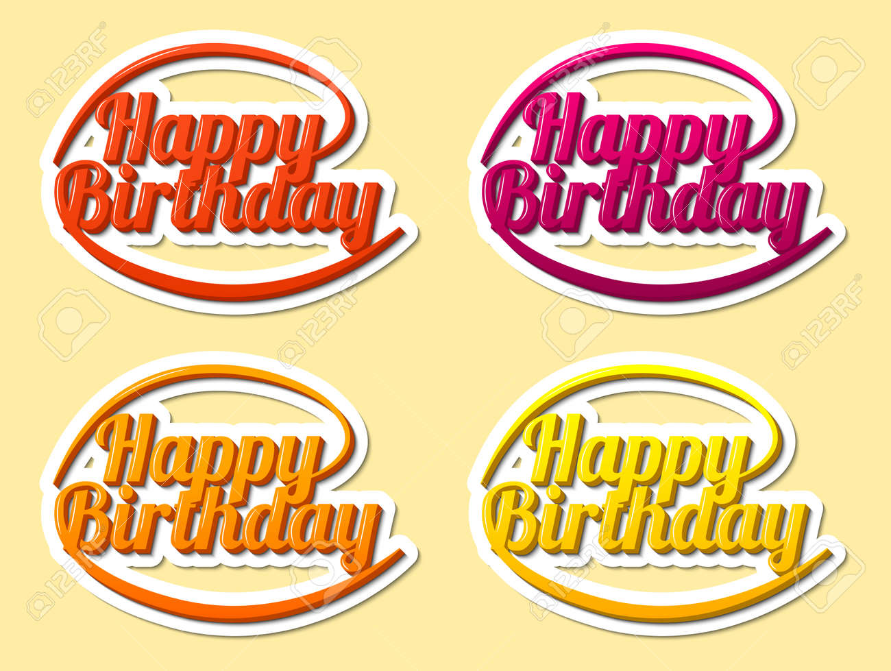 Happy birthday hand lettering modern text style sticker stock vector 70734276