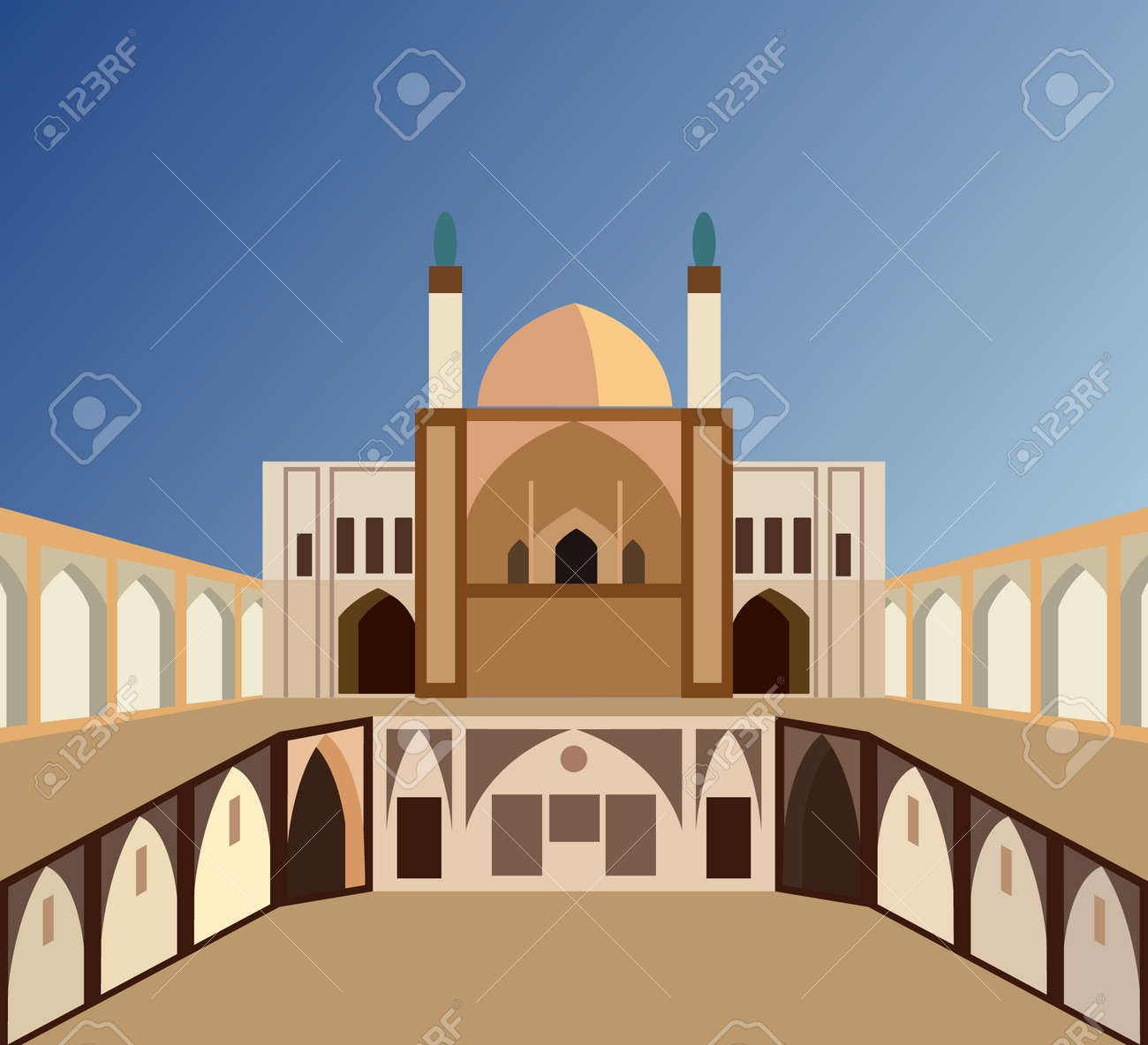 Aga Bozorg Mosque in Iran in the city of Kashan, vector illustration - 172185867