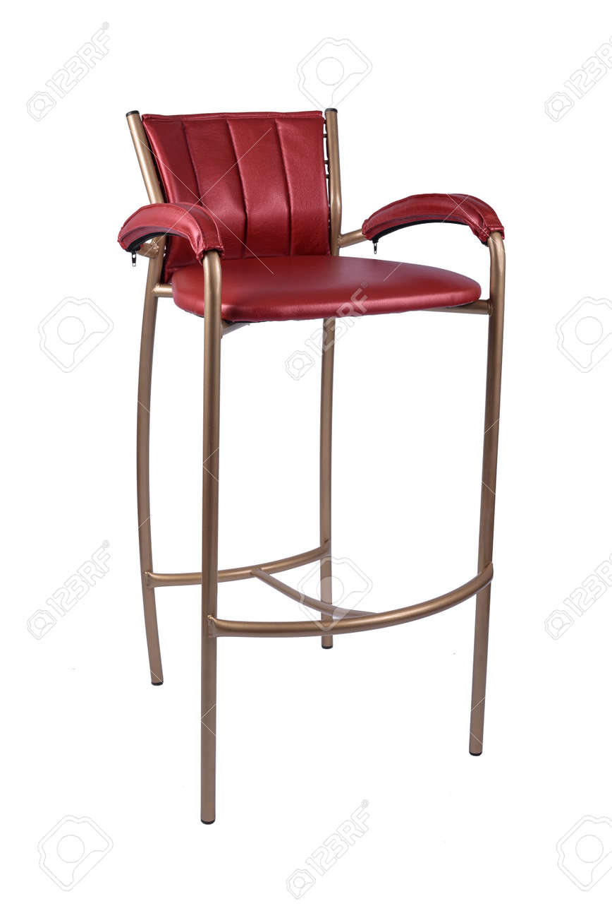 Red Gold Bar Stool Chair Isolated On White Stock Photo Picture And