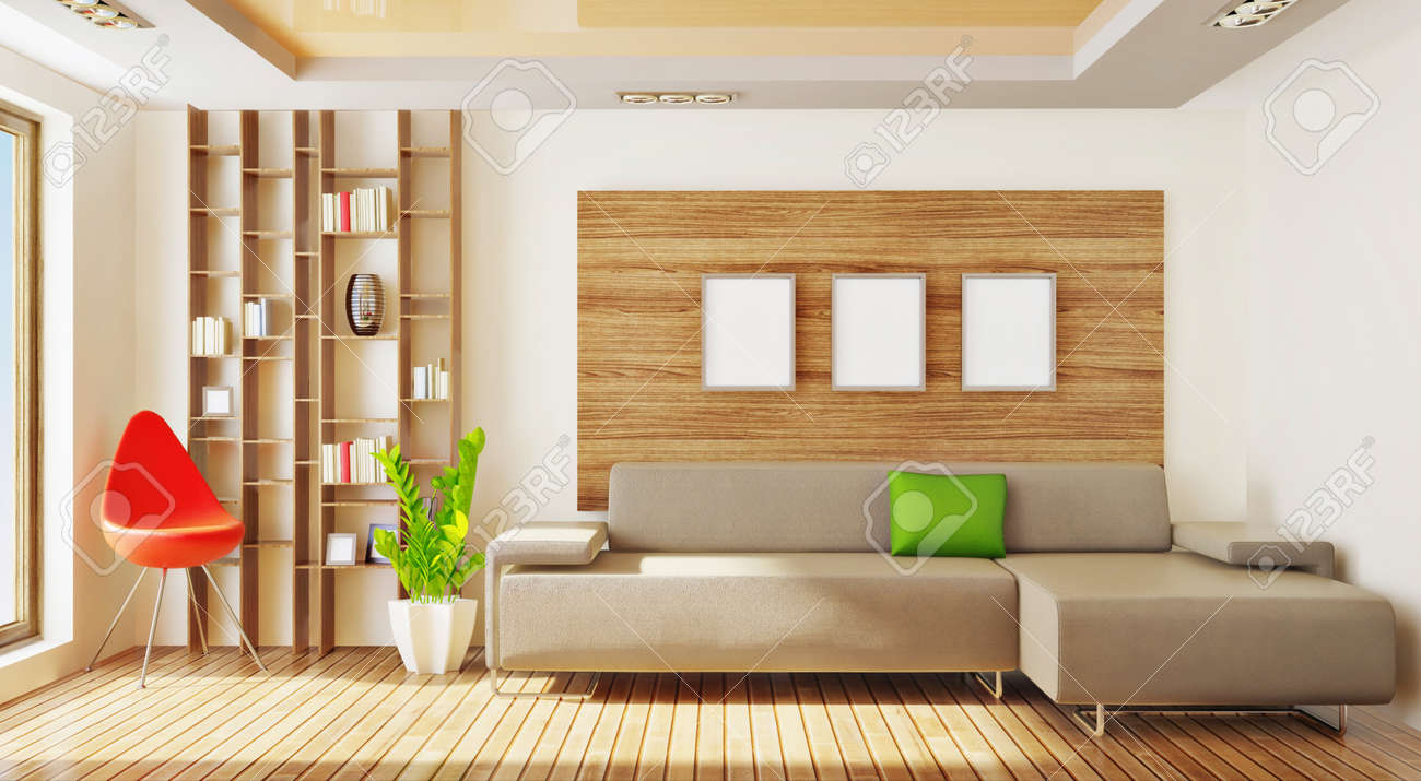 modern living  room with red elements Stock Photo - 8961331