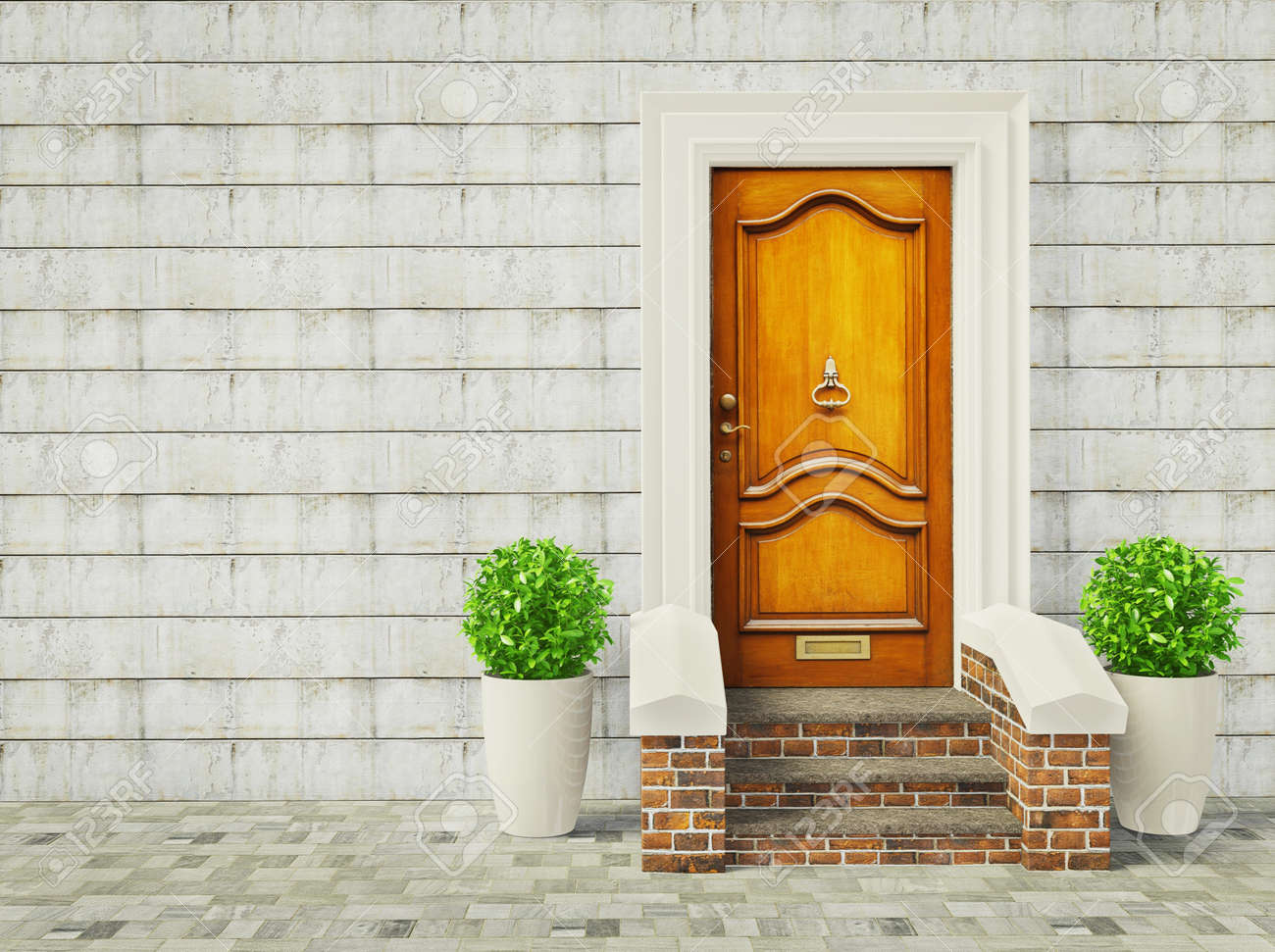 Stock Photo - vintage door and two plants near wall. & Vintage Door And Two Plants Near Wall. Stock Photo Picture And ...