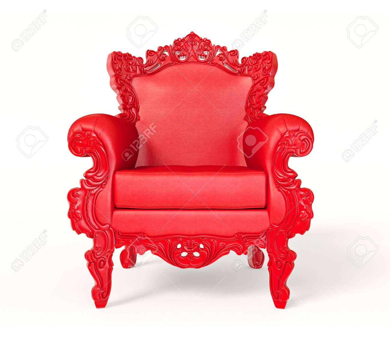 La Poltrona Rossa.Poltrona Rossa Concettuale Isolata Su Una Priorita Bassa Bianca