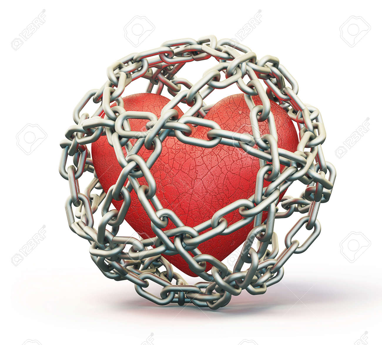 red heart isolated in a steel chain Stock Photo - 13894518