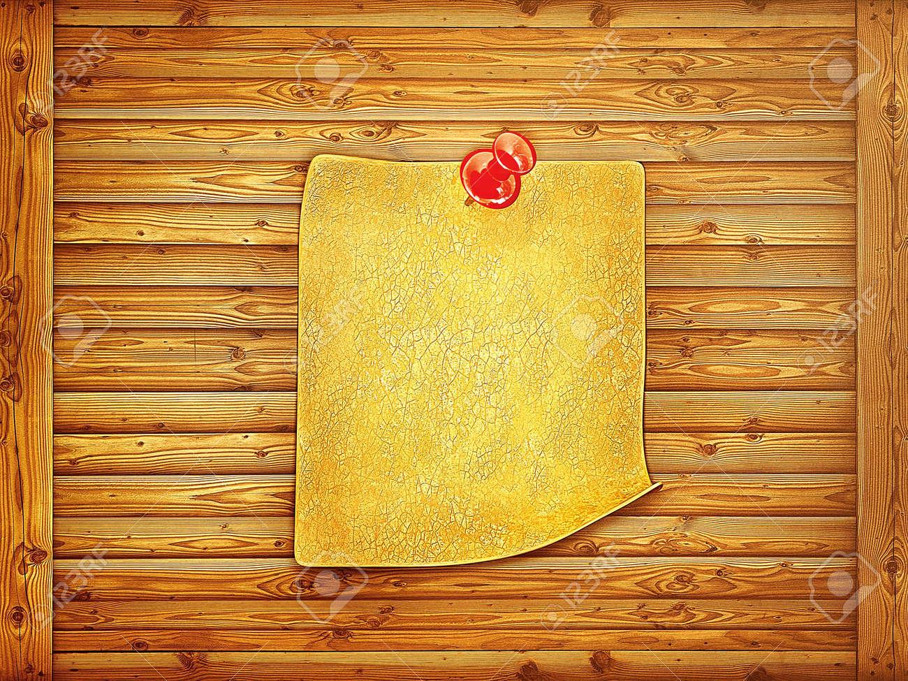 grunge paper sticker on a wooden background Stock Photo - 14303829