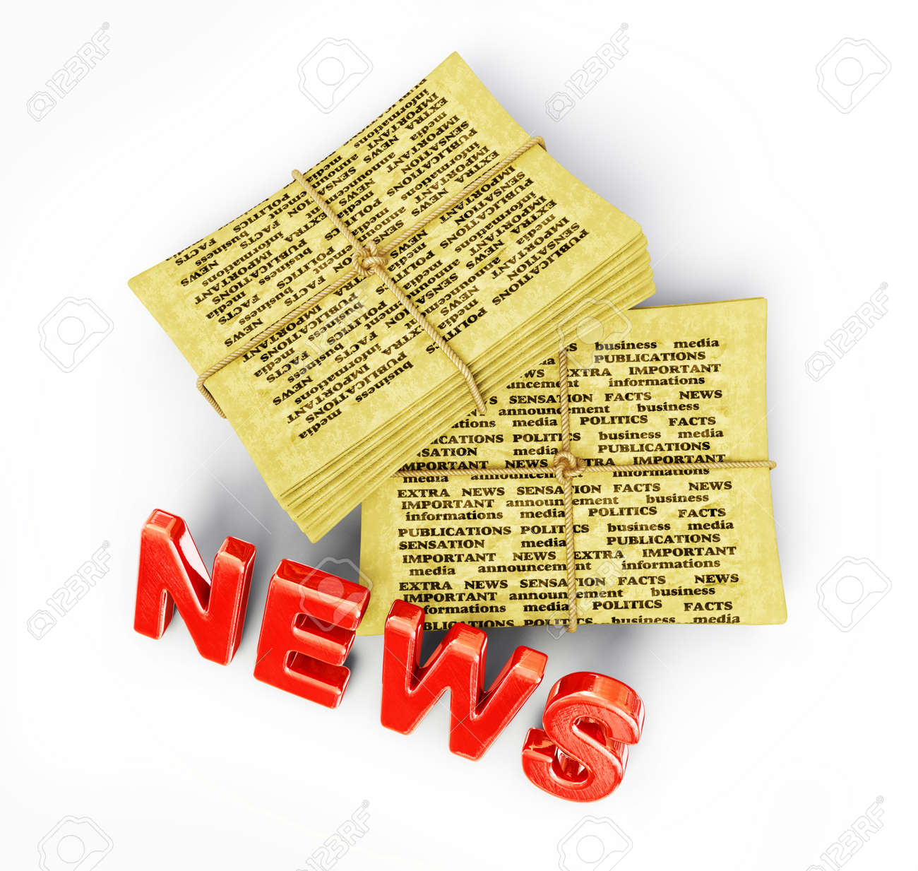 yellow newspaper isolated on a white background Stock Photo - 14657228