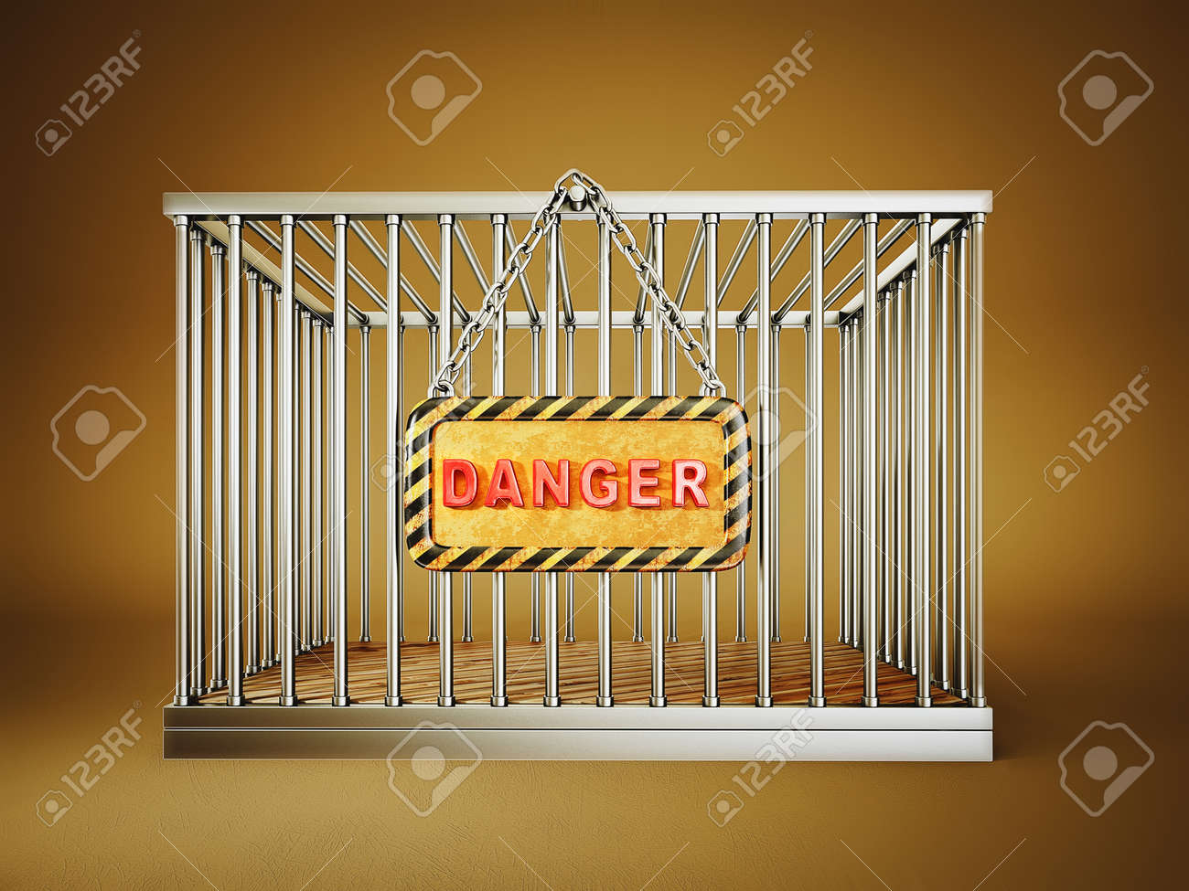steel cage isolated on a brown background Stock Photo - 16161241