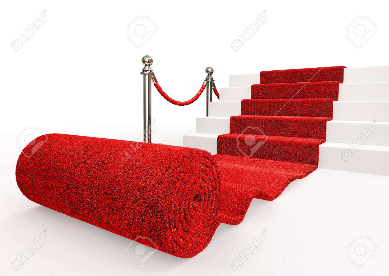 red event carpet isolated on a white background Stock Photo - 16283400