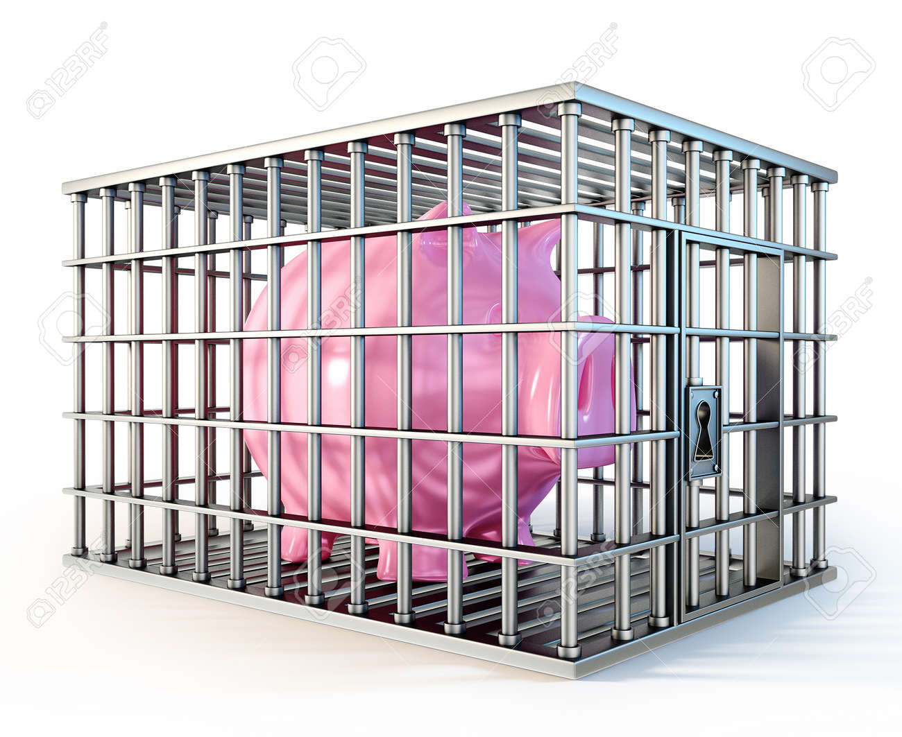 piggy in cage isolated on a white background Stock Photo - 20036684