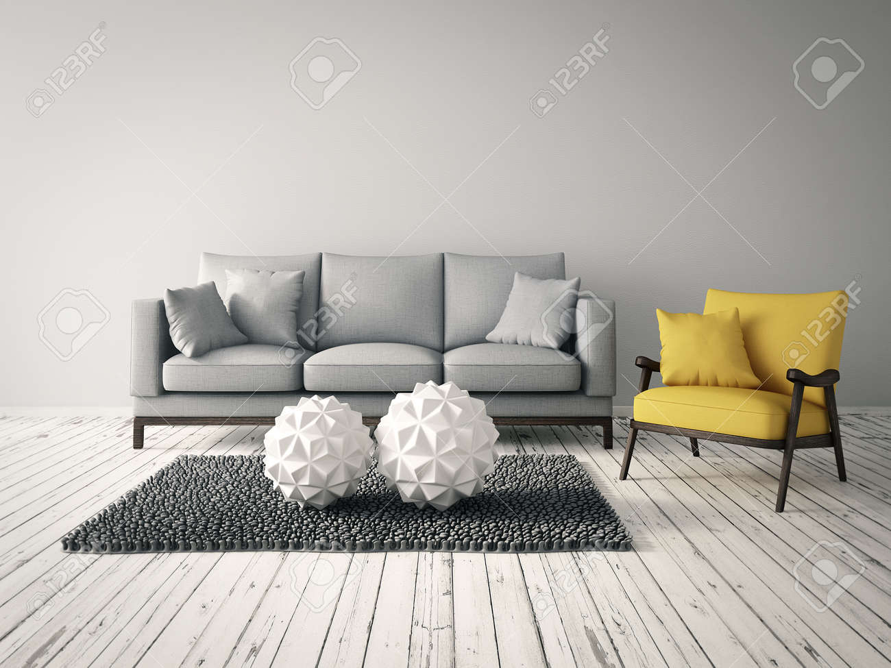 modern interior room with a beautiful furniture - 32773941