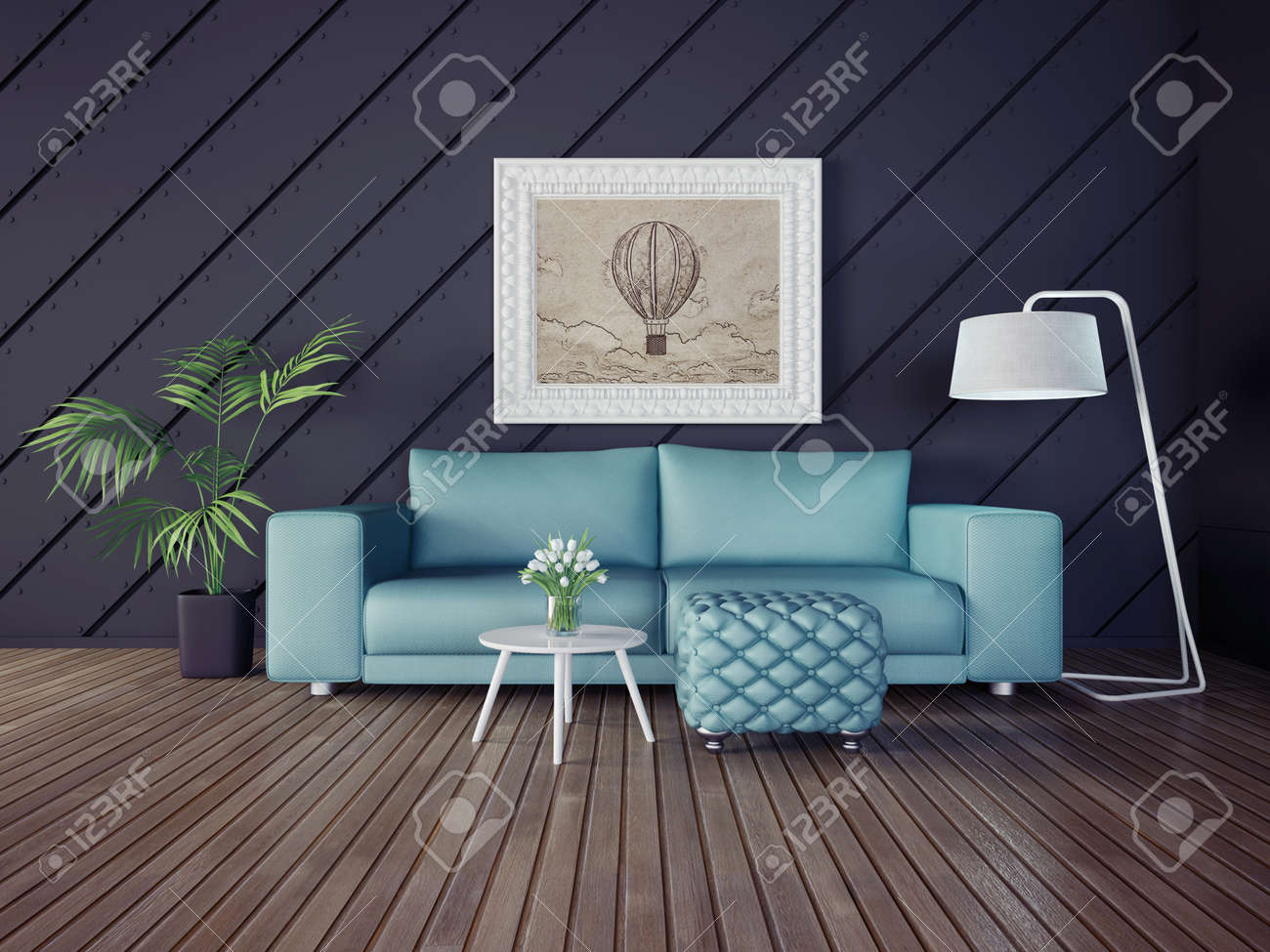 3d illustration interior room with a beautiful furniture - 34178031