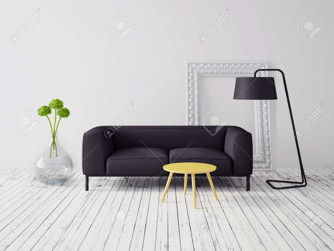 Living Room Modern Interior Furniture 3d render modern inter with a beautiful furniture stock photo furniture