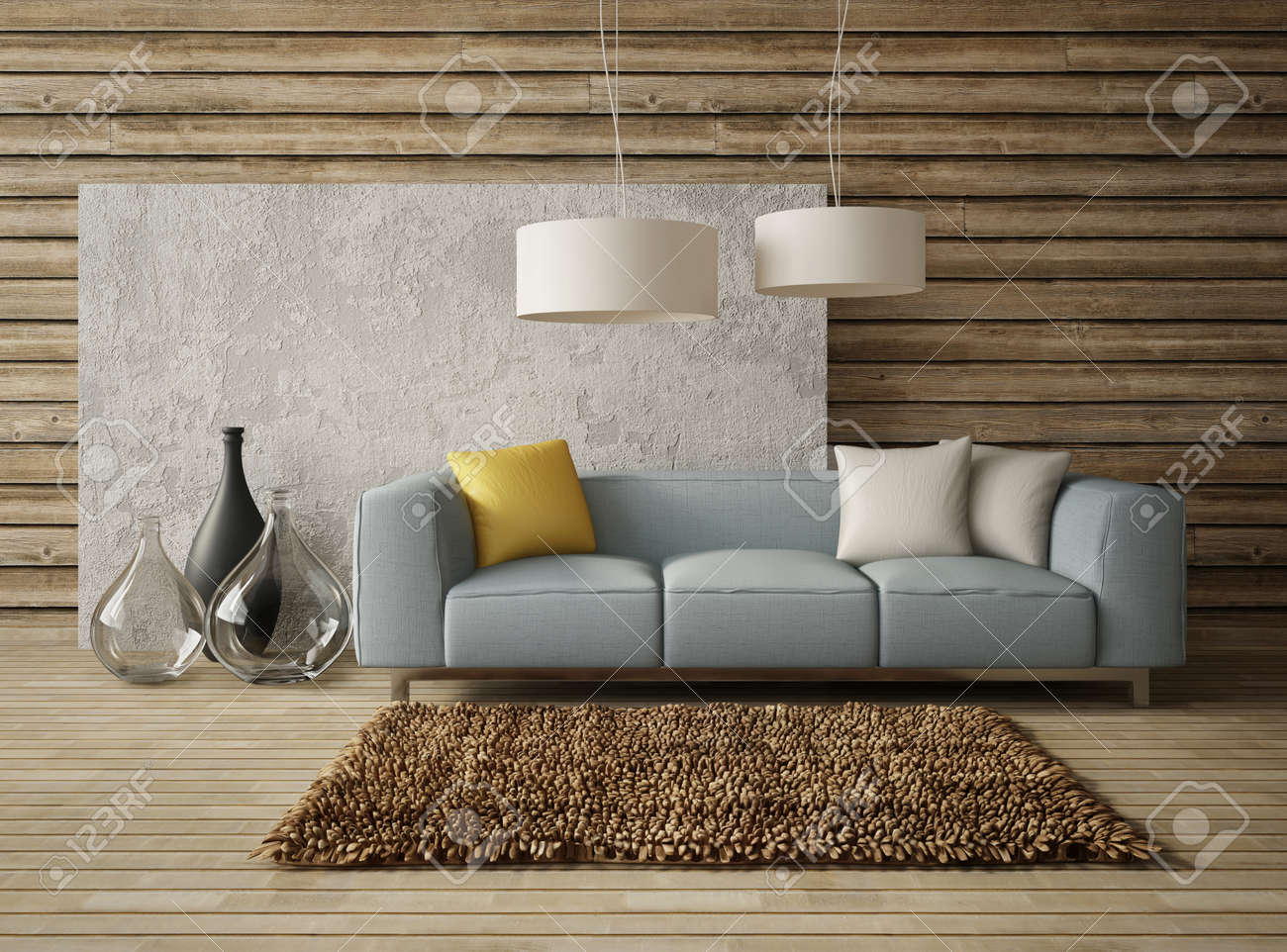 3d render. modern interior room with a beautyful furniture. - 34876063