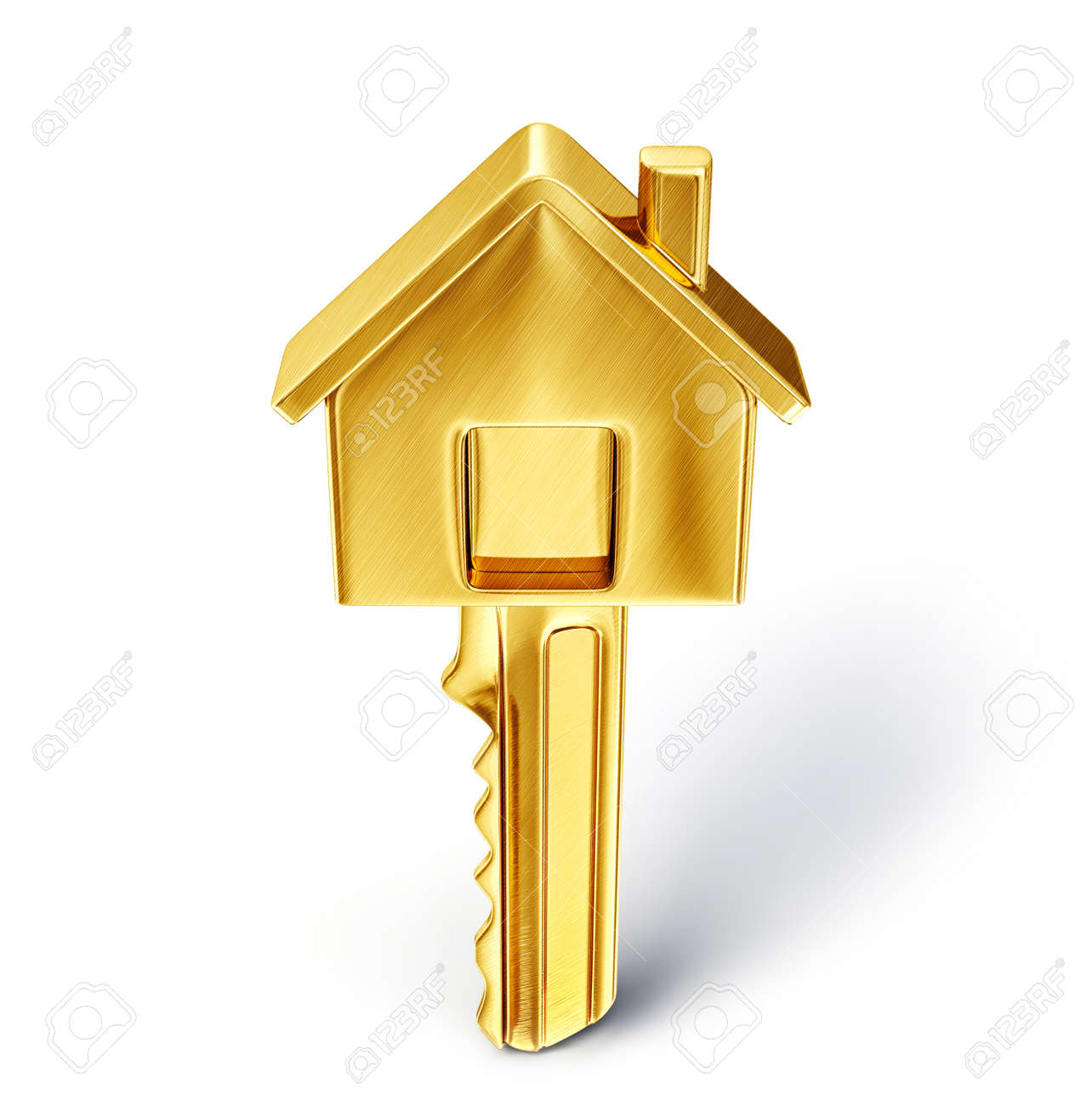 golden key isolated on a white. 3d illustration - 36058686