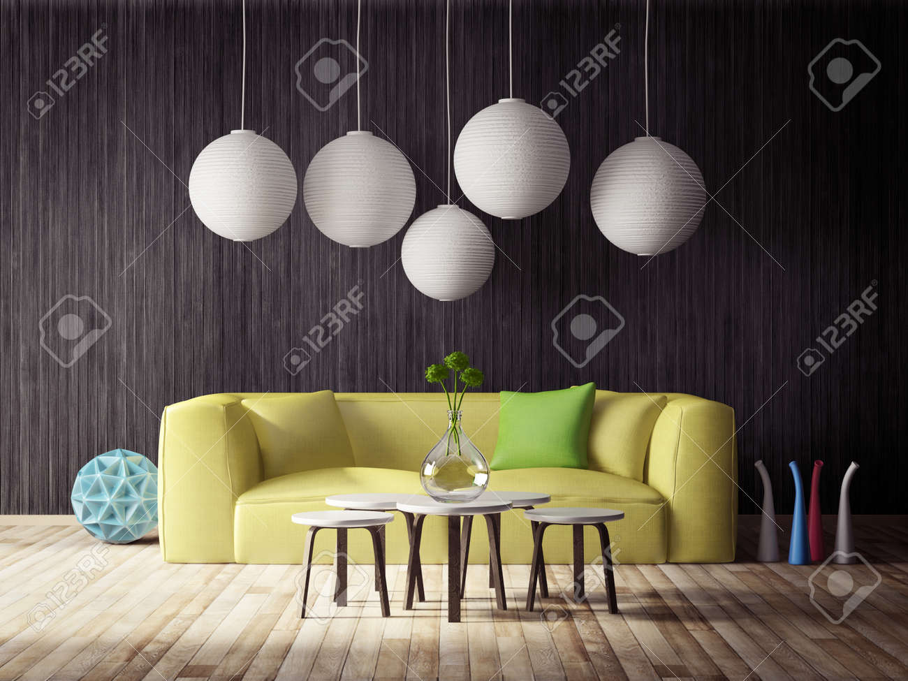 3d render. modern interior room with a beautyful furniture. - 37883050