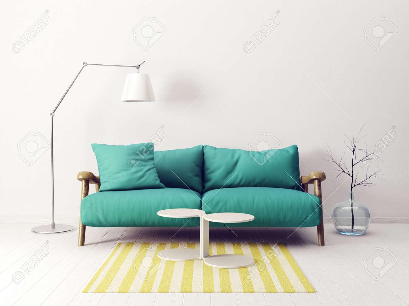 Modern Scandinavian Interior. Sofa In Living Room. 3d Render ...