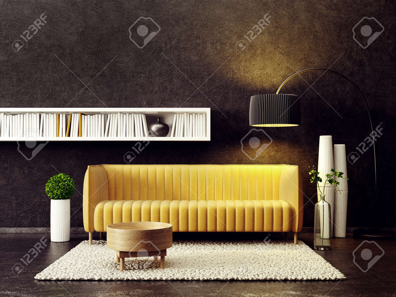 Salon moderne avec canapé jaune et lampe scandinave design scandinave  illustration de rendu 3d