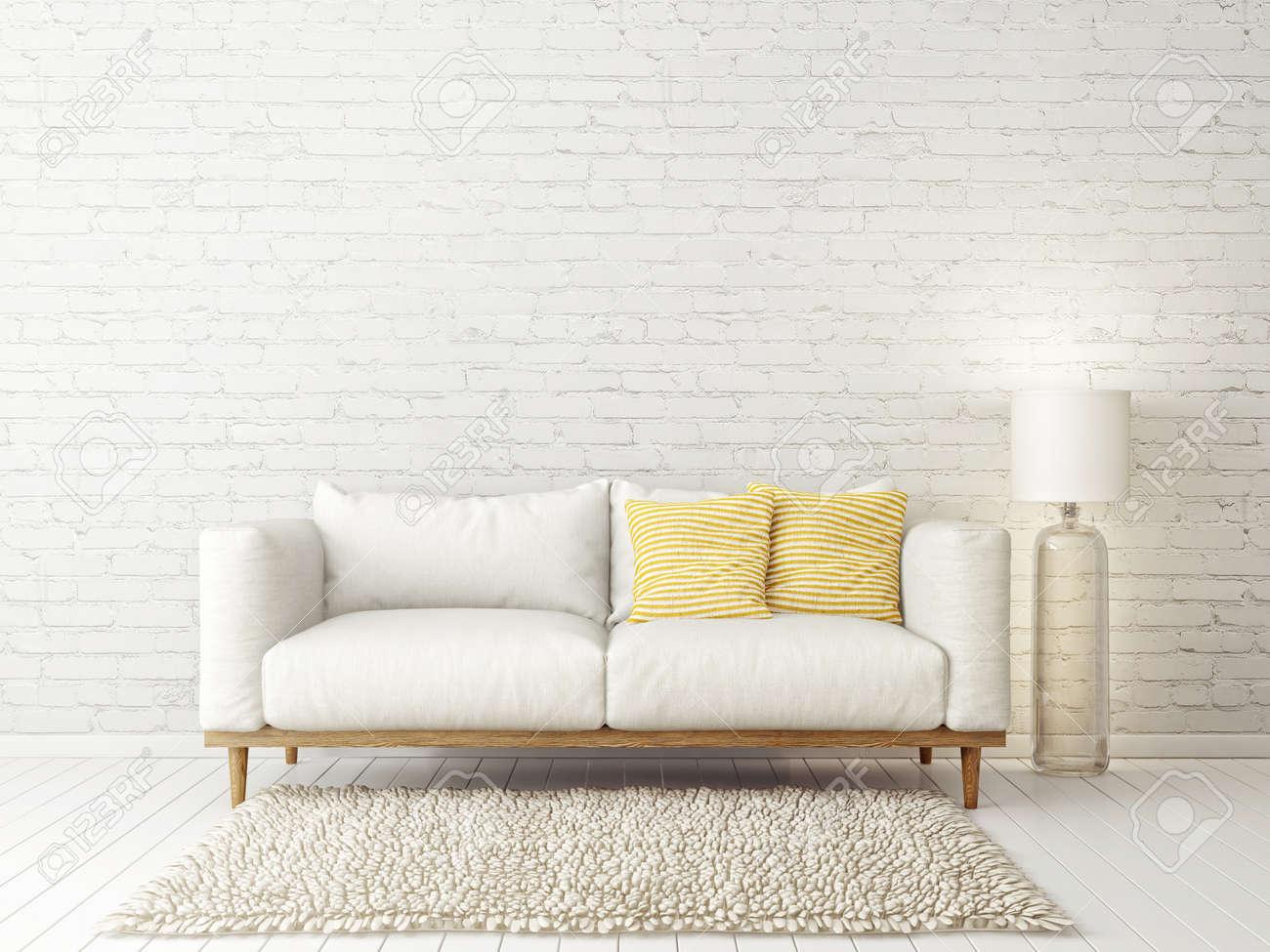 Banque Du0027images   Salon Moderne Avec Canapé Blanc Et Lampe. Mobilier Design  Scandinave. Illustration De Rendu 3D