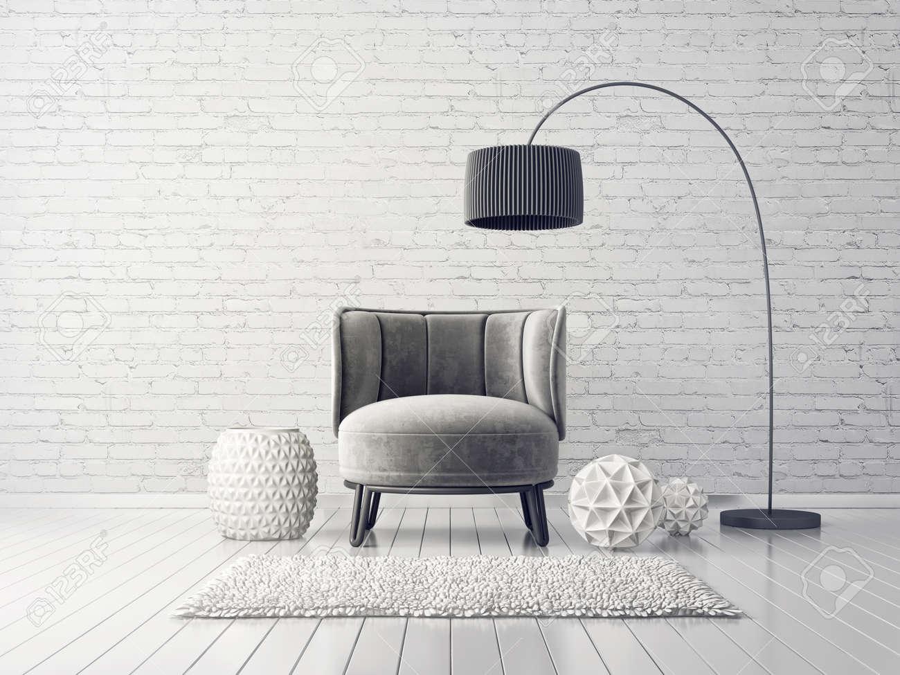 Salon moderne avec fauteuil gris et lampe scandinave intérieur design 3d  salles illustration rendu
