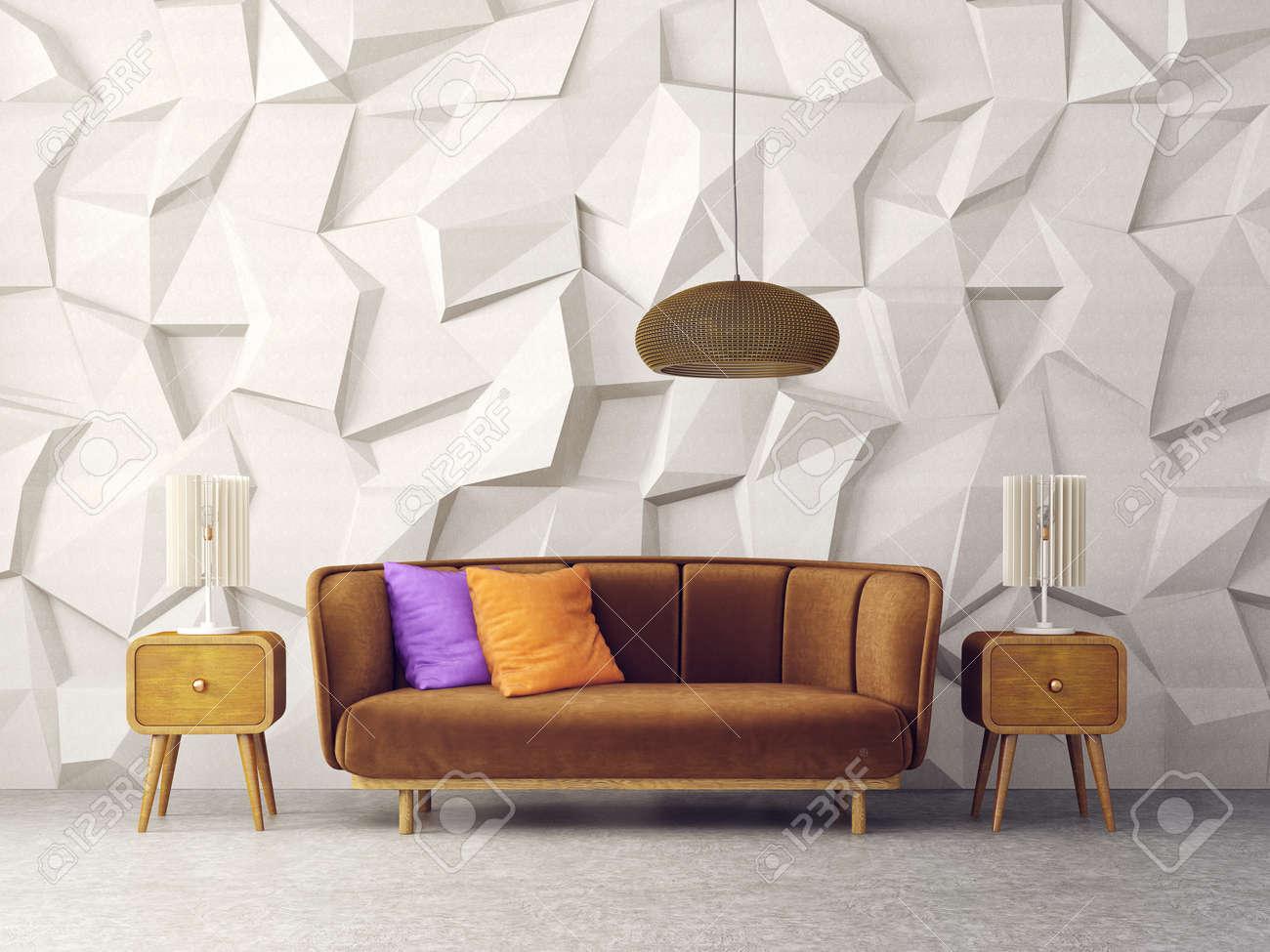 Modernes Wohnzimmer Mit Braunem Sofa Und Lampe. Skandinavische  Einrichtungsmöbel. 3d übertragen Abbildung Standard