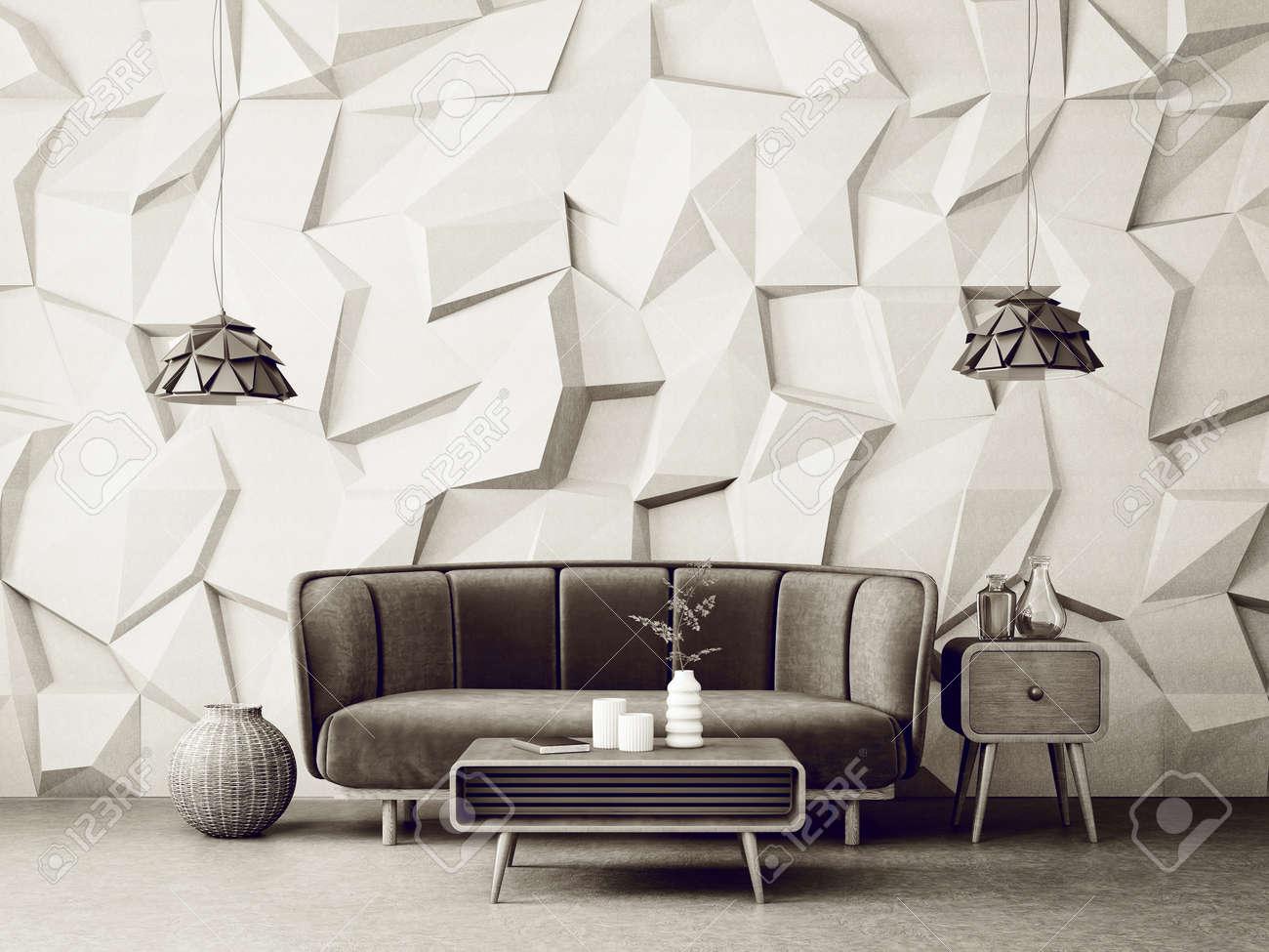 Salon Moderne Avec Canapé Et Lampe. Meubles Scandinaves De Design D ...