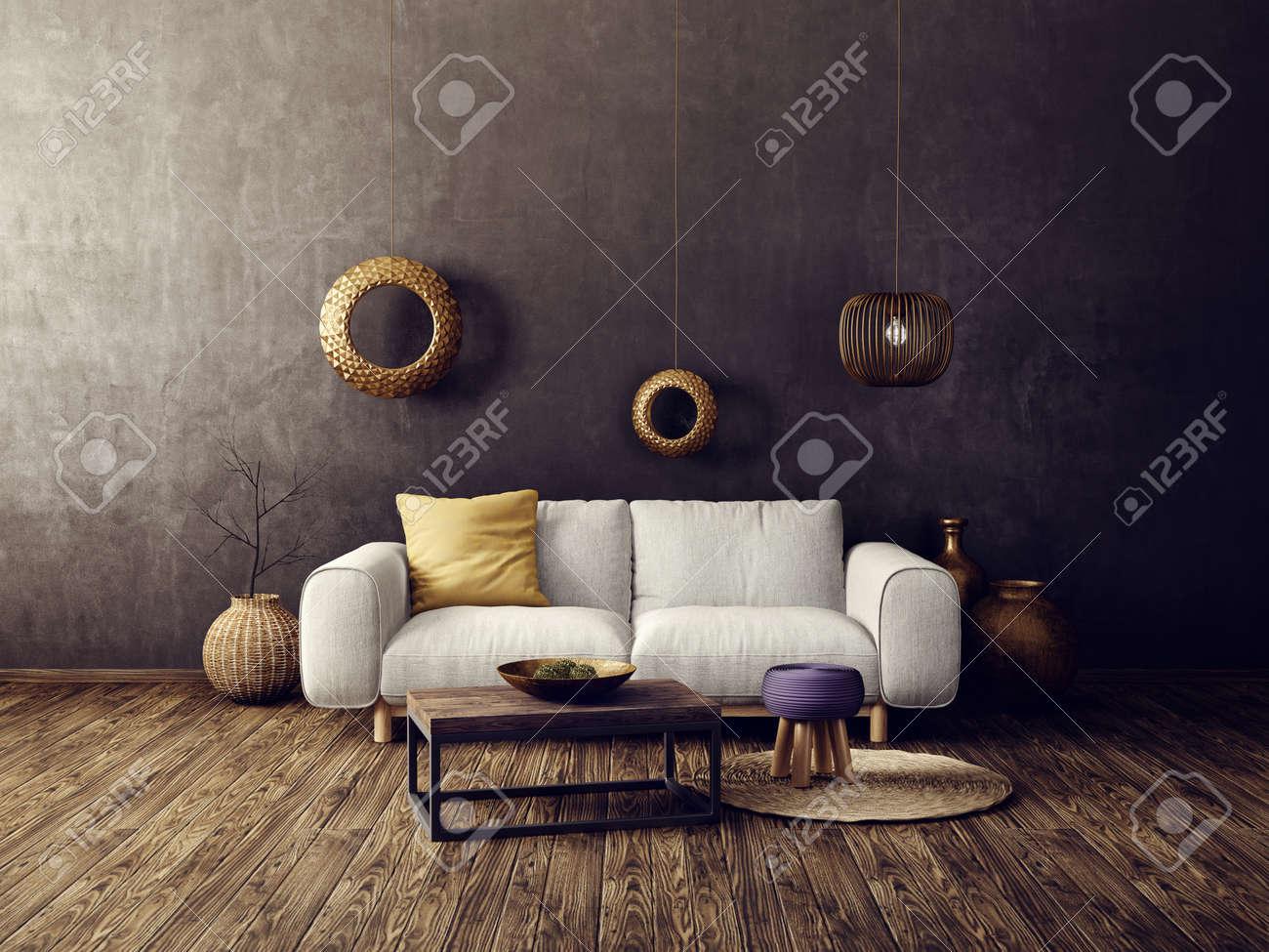 Modernes Wohnzimmer Mit Weissem Sofa Und Lampe Skandinavische