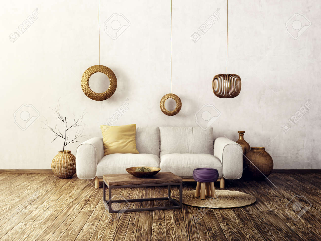 Modern Living Room With White Sofa And Lamp. Scandinavian Interior ...