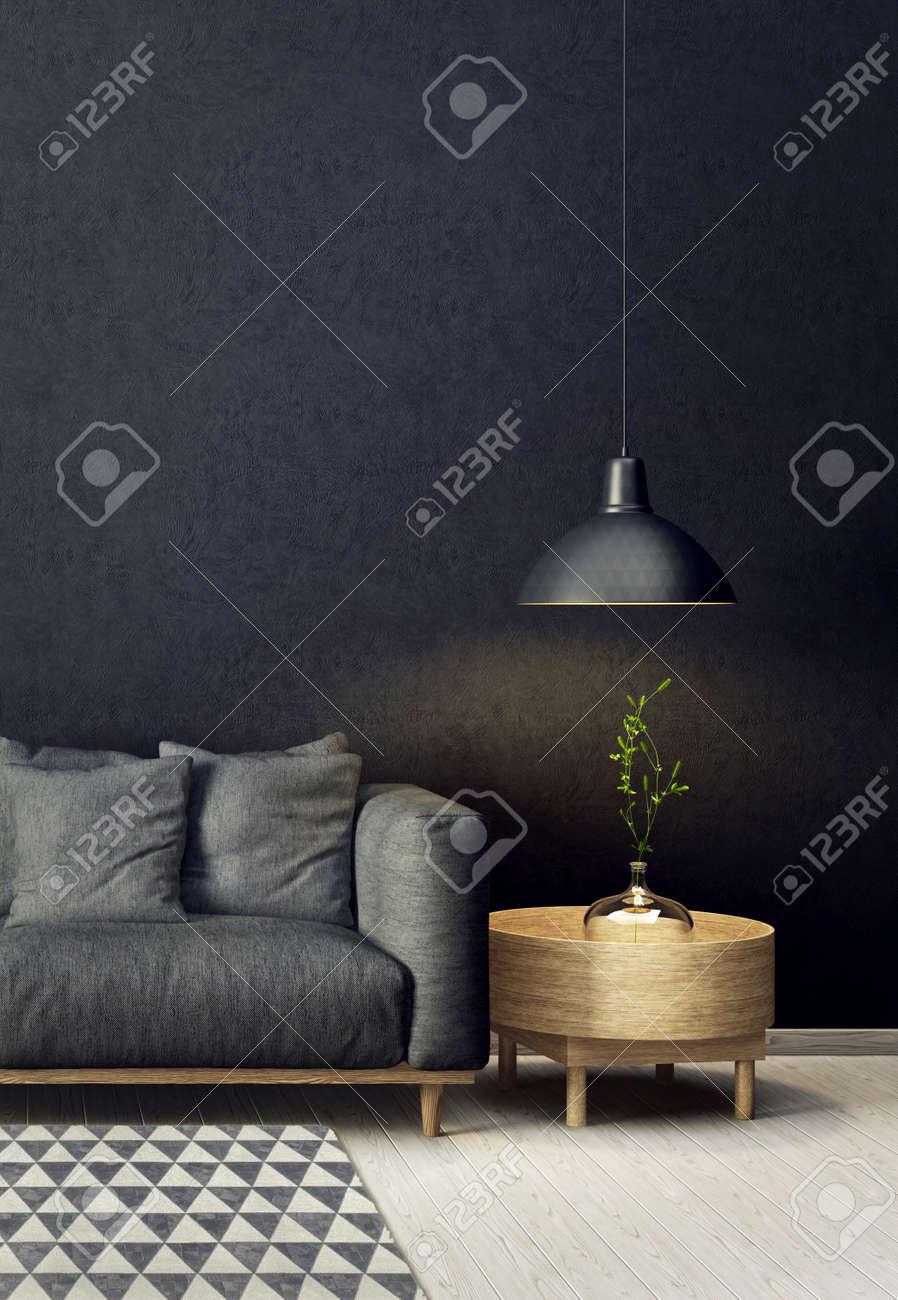 Salon Moderne Avec Canapé Et Lampe. Mobilier Design Scandinave ...