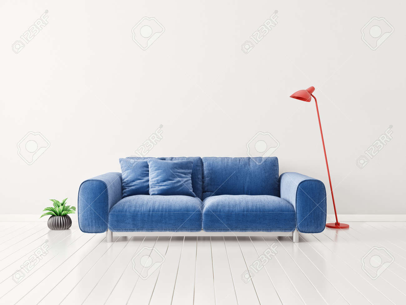 Illustration modern living room with sofa scandinavian interior design furniture 3d illustration